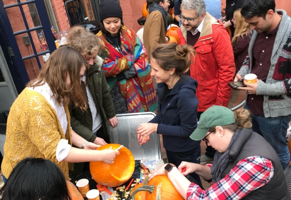 Anthropology and human paleobiology students carve anthropologically-themed pumpkins for our department's 12th annual Pumpkinfest.