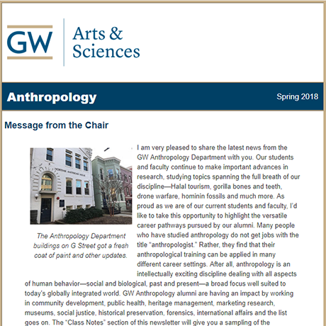 2018 CCAS Anthropology Department Newsletter