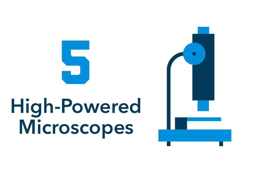 5 high-powered microscopes