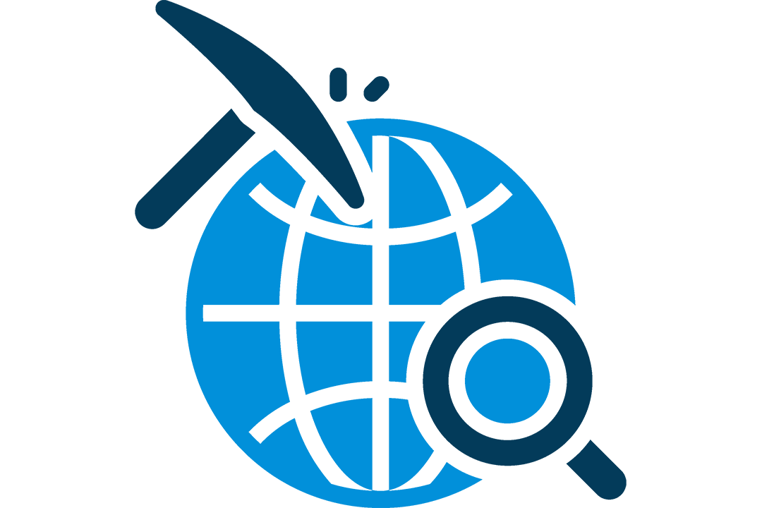 graphic of a pickaxe and a magnifying glass over a globe