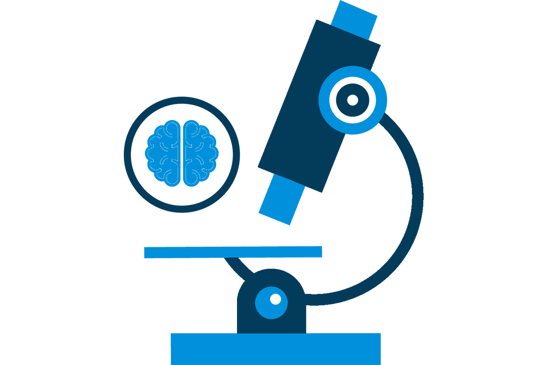 A graphic of a microscope and a brain