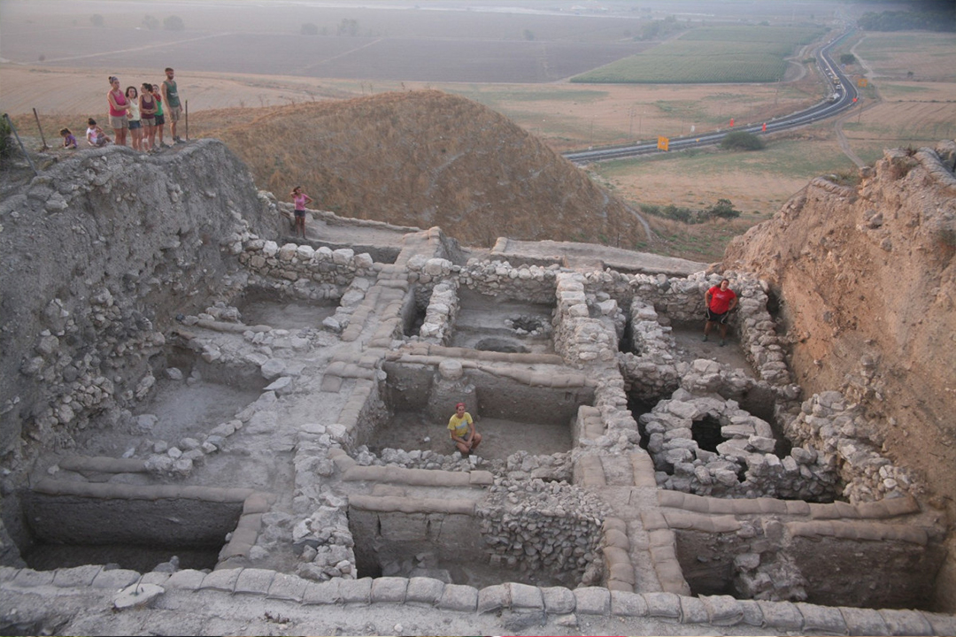 Students standing on top of Area K of the Meriddo Excavation Site