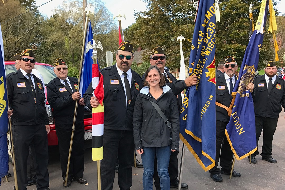 Professor Sarah Wagner with members of the Veterans of Foreign Wars Post 8239 in Bayfield, Wisconsin.