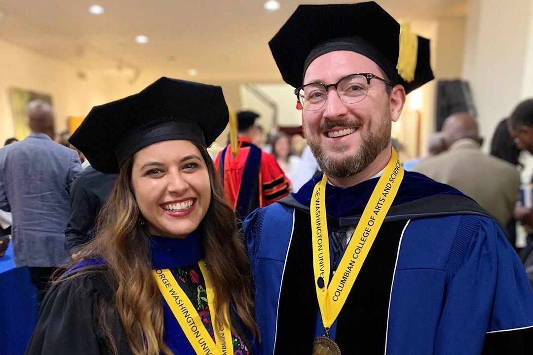 Anthropology doctoral Student Chandras (left) and Proctor (right) at graduation